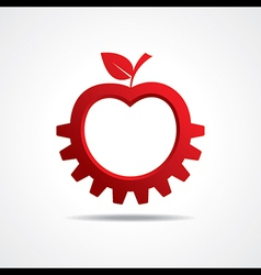 Red apple make gear shape business technology vector