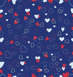 Blue background with a variety of hearts vector