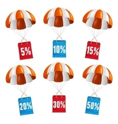 Red and white parachute with paper bag sale vector