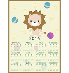 Calendar for 2016 with cartoon and funny lion toy vector