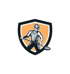 Coal miner hardhat shovel shield retro vector