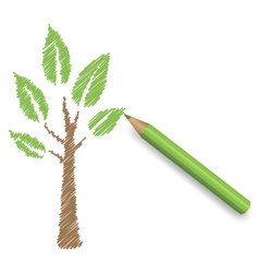 Pencil draws green tree eco spring floral vector