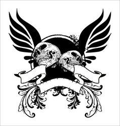Grunge skull banner vector