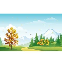 Autumn mountain forest vector