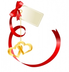 Red bow with label vector