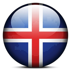 Map with dot pattern on flag button of iceland vector