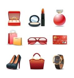 Women shopping icon set vector