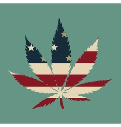 Marijuana leaf with the usa flag colors vector