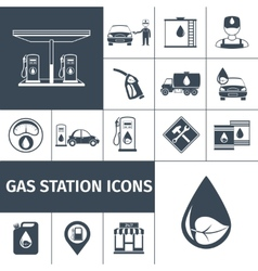 Gas station icons black vector