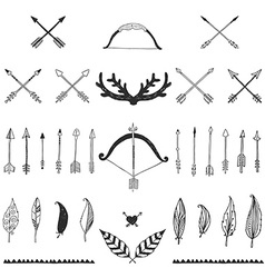 Hand drawn tribal collection with bow and arrows vector