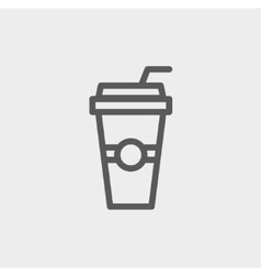 Soda in a plastic cup with straw thin line icon vector