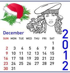 2012 year calendar in december vector