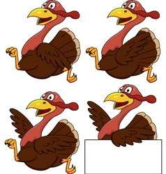 Turkey running group cartoon vector