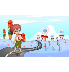 A student walking in the road vector