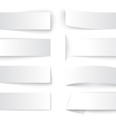Set of blank paper banners with realistic shadows vector