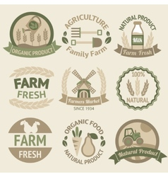 Farming harvesting and agriculture labels vector