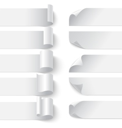 Set of curled blank paper banners with shadows on vector