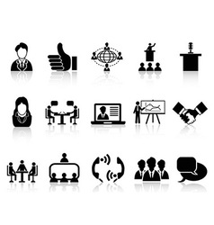 Business meeting icons set vector