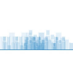 Outline city skyscrapers in blue color vector