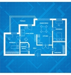 Plan blue print flat design vector