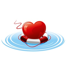 Heart in the lifebuoy concept image vector