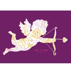 Flowers outlined shooting cupid silhouette vector