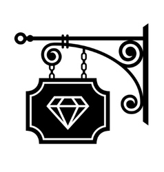 Ancient street signboard of jeweler vector
