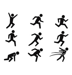 Runner stick figure icons set vector