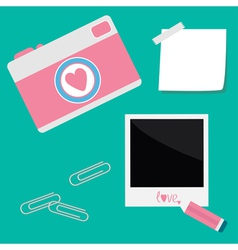 Instant photo sticker with tape paperclips pencil vector
