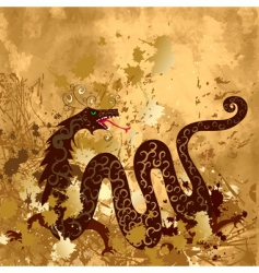Chinese dragon on paper grunge vector