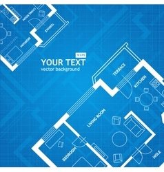 Plan blue print architectural background vector