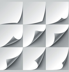 Set of 9 white paper curled corners with realistic vector