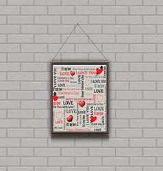 Painting on a brick wall valentines day vector