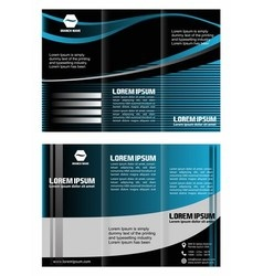 Tri-fold technology style brochure layout design vector