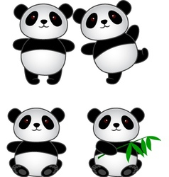Panda cartoon group vector