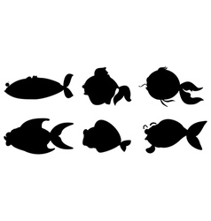 Different fishes in black color vector