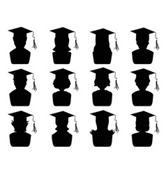 Graduation head icons vector