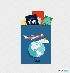 International passport and elements of travel vector