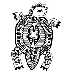 Ink drawing of tortoise ethnic pattern black and vector