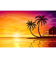 Sunset sunrise with beach nut vector