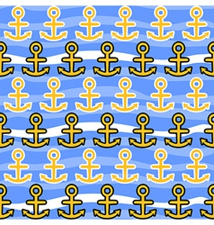Seamless pattern with anchors sea background vector