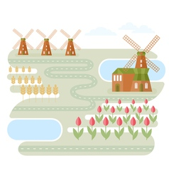 Landscape in holland vector