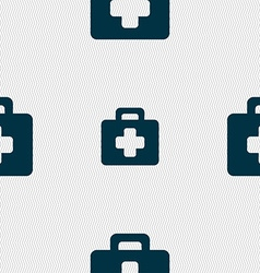 First aid kit icon sign seamless pattern with vector