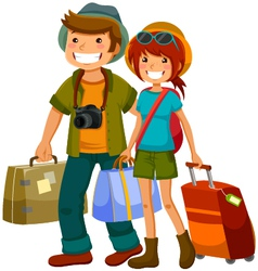 Travelling couple vector