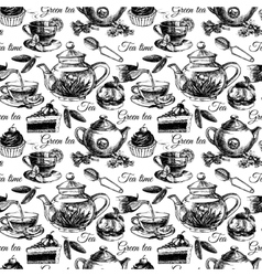 Tea and cake seamless pattern vector