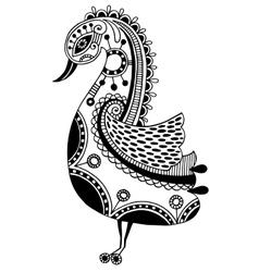 Ink drawing of tribal ornamental bird ethnic vector