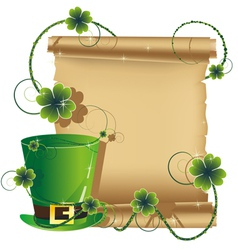 Green leprechaun hat and ancient manuscript vector