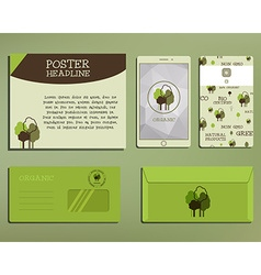 Green and organic corporate identity set template vector