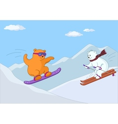Teddy bears ski in mountains in day vector