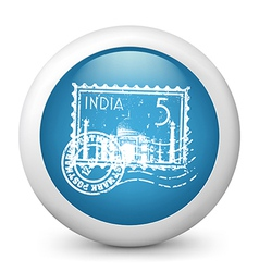 India postage glossy icon vector